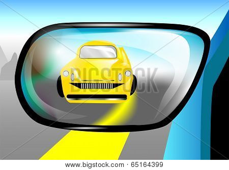 Car In The Rear View Mirror