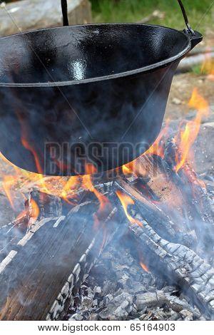 Big Cauldron On Campfire