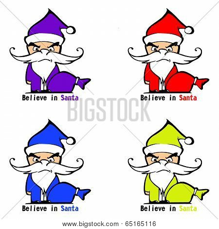 Colorful angry Santa Clauses