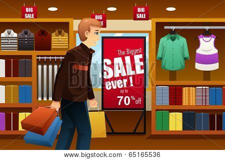 Man Shopping At Shopping Mall