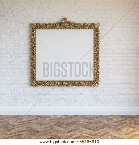 White Walls Brick Interior With Golden Carved Frame And Hardwood