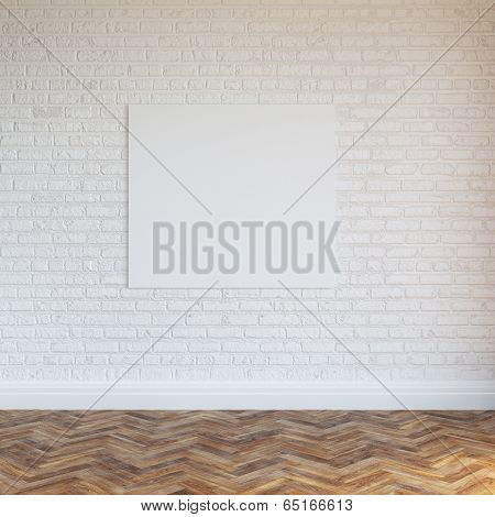 White Brick Wall Interior Design With Blank Frame