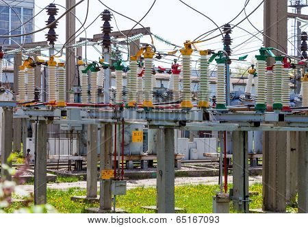 High Voltage Circuit Breaker In A Power Substation In Sunny Day