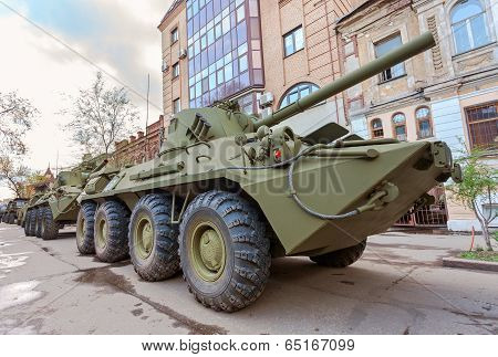 Samara, Russia - May 6, 2013: 2S23 Nona-svk 120Mm Self-propelled Mortar Carrier On Wheeled Chassis O