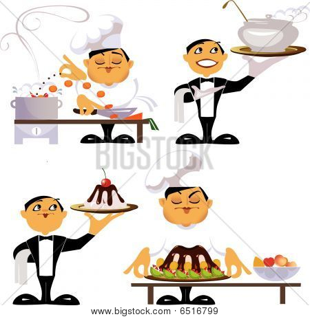 Animated Characters Of A Workers Of Kitchen