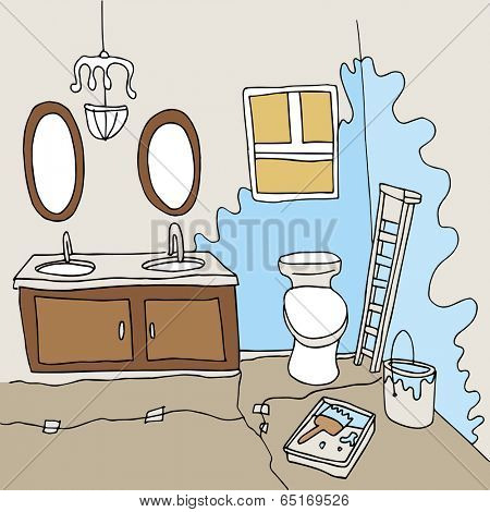 An image of a bathroom being painted.