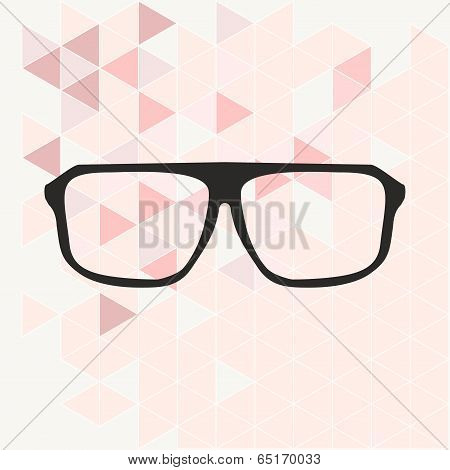 Glasses on pink wrapping surface triangle vector background illustration.