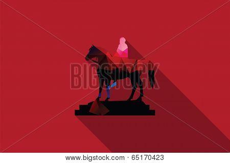 World landmark, Equestrian statue of king George IV, Trafalgar Square, London, UK, vector