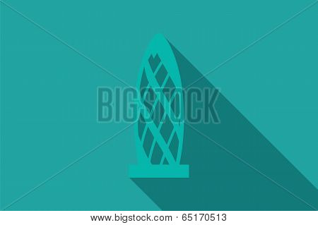 World landmark, Swiss Re Building, London, UK, Europe, vector illustration