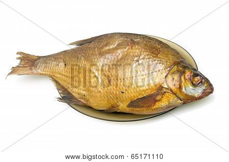 Bream Fish Smoked On A Plate On A White Background