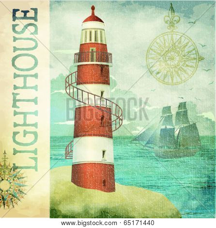 Vintage Lighthouse Poster - Vintage textured maritime poster with old lighthouse, sailing ship in the background, compass roses and copy space on the side