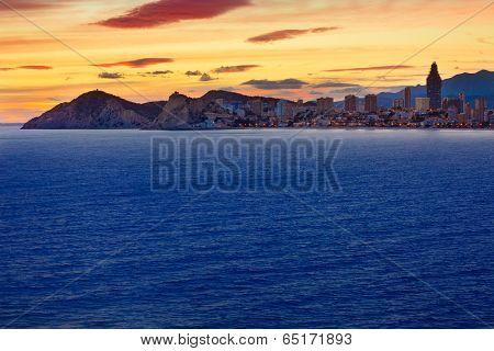 Benidorm Alicante sunset playa de Poniente beach in Spain Valencian community
