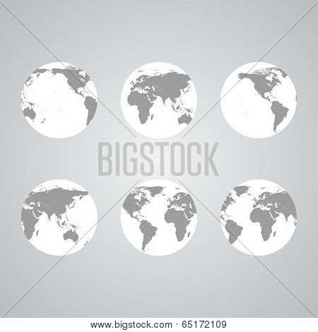 Set of globes World Map Vector light design vector illustration