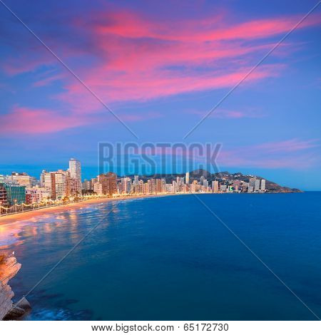 Benidorm sunset Alicante playa de Levante beach in spain Valencian community