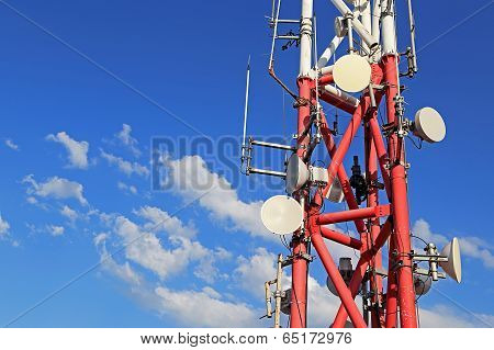 Mobile Phone Base Station With Background Of Blue Sky