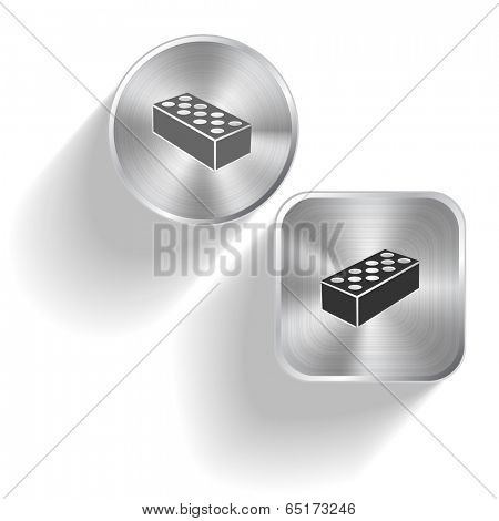 Hollow brick. Vector set steel buttons