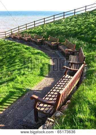 Curve Of Benches Seascape