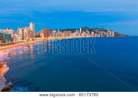 Benidorm sunset Alicante playa de Levante beach in spain Valencian community