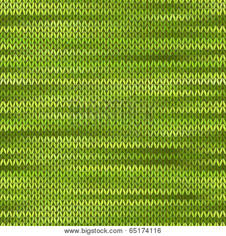 Style Seamless Knitted Melange Pattern. Green Color Vector Illus