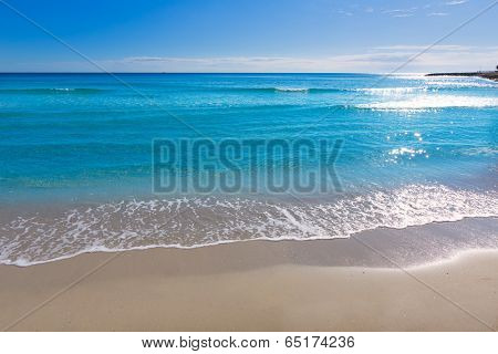 Alicante Postiguet beach at Mediterranean sea in Spain valencian community