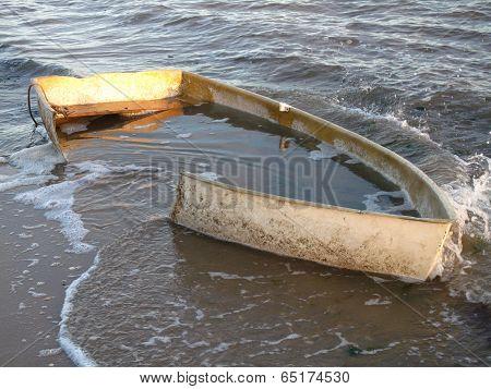 Sunken Boat Upon Beach