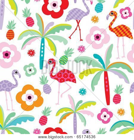 Seamless tropical flamingo and palm tree beach pattern illustration for kids background in vector