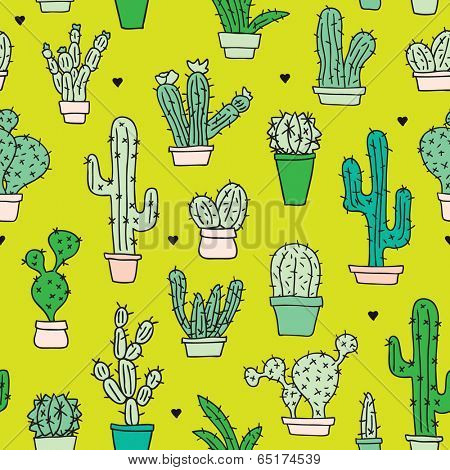 Seamless botanical garden cactus in flower pots illustration background pattern in vector