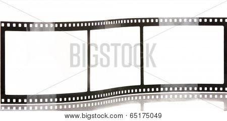 blank film strip isolated on white with reflection