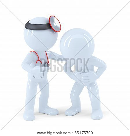 Doctor And Patient. Isolated On White. Contains Clipping Path