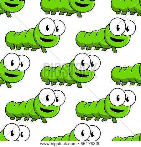 Seamless pattern of cartoon green caterpillars