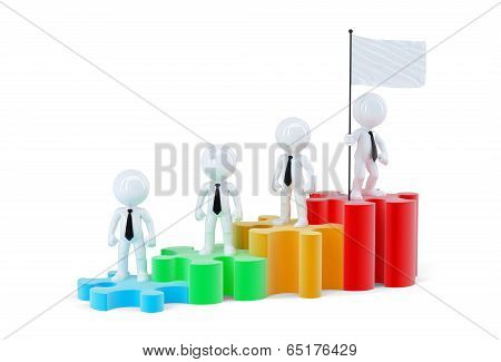 Business Team Standing On Graph Bars. Isolated. Contains Clipping Path Of Scene And Flag