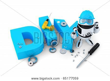 Robot With Diy Sign. Technology Concept. Isolated On White Background. Contains Clipping Path.