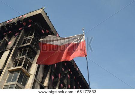 KIEV, UKRAINE - APR 28, 2014: Flag of Poland, that supports Putsch of Junta in Kiev Camp of rioters in Kiev.April 28, 2014 Kiev, Ukraine
