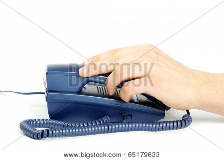 telephone receiver in hand isolated on white
