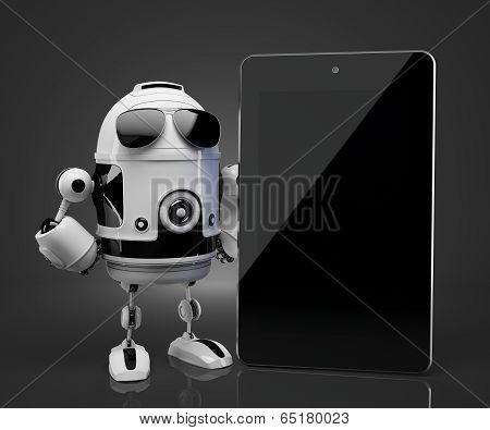 Robot With Blank Screen Tablet Computer. Contains Clipping Path Of Tablet Screen