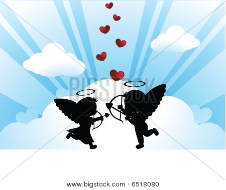 Silhouettes Angel And Hearts