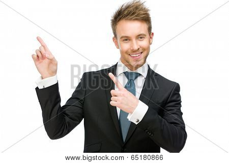 Half-length portrait of business man pointing finger gesture, isolated