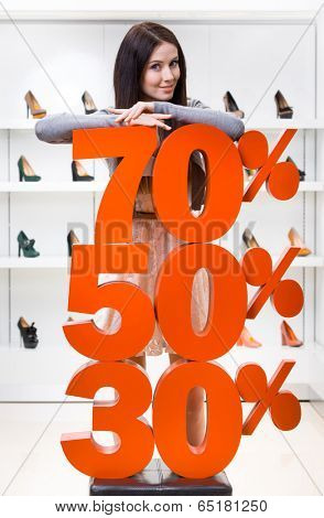 Woman showing the percentage of sales on pumps in the shopping center against the window case with pumps