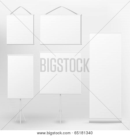 Vector Blank Roll Up Banner And Placard