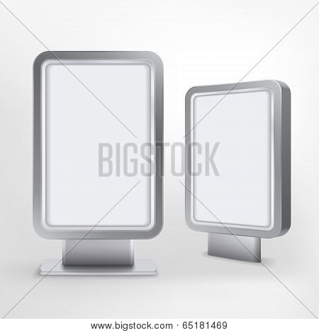 Billboard And Lightbox On White Background