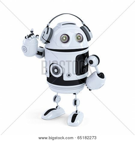 Robot With Headphone. Isolated. Contains Clipping Path