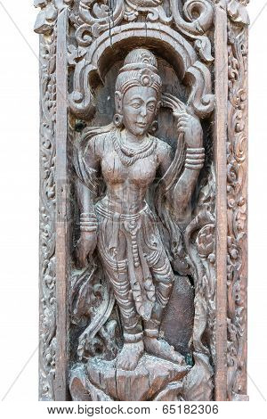 Ancient Wooden Art Scuplture With Asian Design