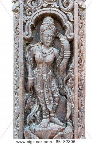 Ancient Wooden Art Scuplture With Asian Design
