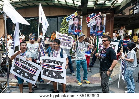 Bangkok - February 2: Unidentified Group Of People Holding Protest Sign For Thailand's Protest Again