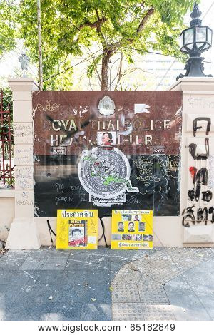 Bangkok - February 2: Offensive Graphic Painted In Thai Police