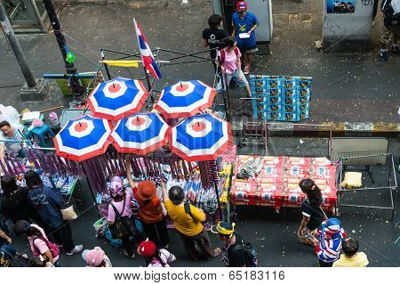 Bangkok - February 2: Shopping Street At Protest Site For Thailand's Protest Against The Government
