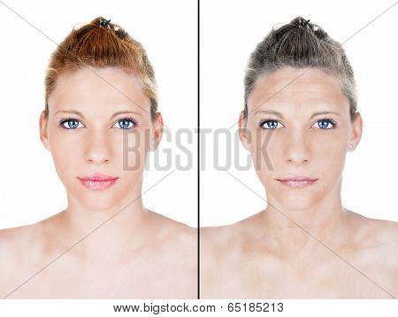 Beautiful Woman Aging Process Portrait
