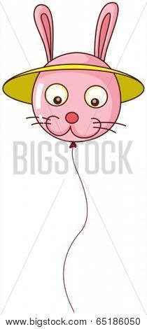 Illustration of a bunny-shaped balloon on a white background