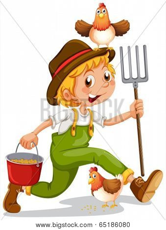 Illustration of a happy boy holding a pail and a rake on a white background