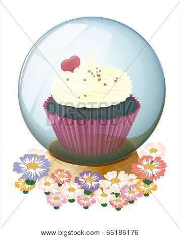 Illustration of a crystal ball with a mouthwatering cupcake on a white background